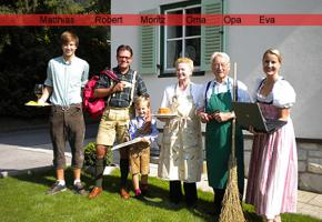 Familie Hoffmann heute: Matthias, Robert, Moritz, Oma, Opa, Eva